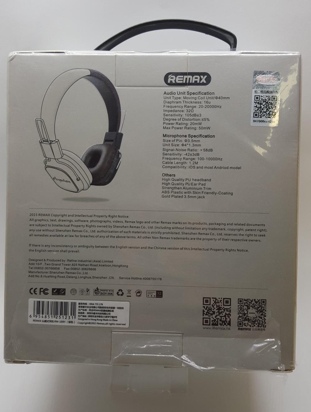 Наушники Гарнитура REMAX RM-100H с микрофоном+пульт управления для контента - 1